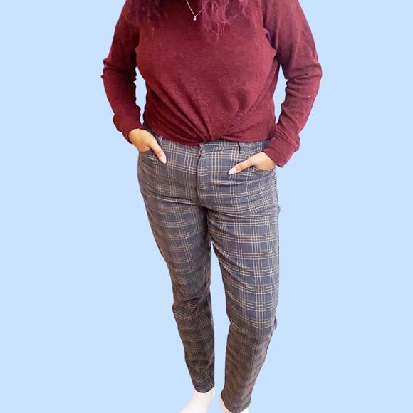 American Eagle Plaid Skinny Jeans 16 Reg